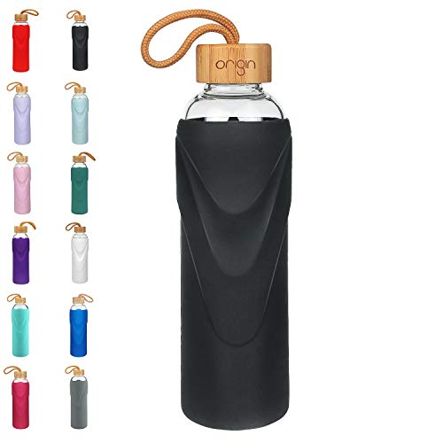 ORIGIN - Best BPA-Free Glass Water Bottle with Protective Silicone Sleeve and Bamboo Lid - Dishwasher Safe - 32 Ounce (Black)