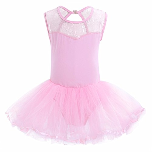 FEESHOW Girls Cutout Back Floral Lace Leotard Tutu Ballet Dress with Skirt Dance Costume Pink 8-10
