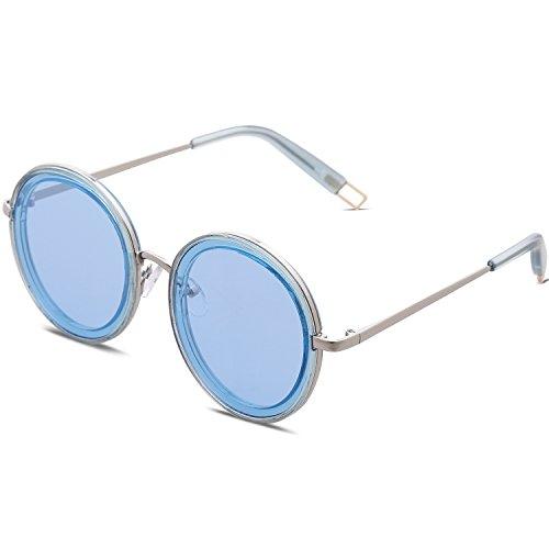 Bleu Lentille Soleil Oversize SJ1076 Bleu SOJOS Métal de pour Rond Moderne Lunettes Femme Cadre C4 P6qHEB