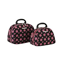 ROCKLAND Luggage ROCKLAND 2-Piece Cosmetic Set, Black/Pink Dot, One Size