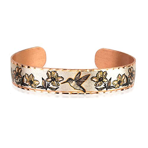 Handmade Copper Cuff Hummingbird Bracelet with Flowers. Hummingbird Gifts That Will Make Every Hummingbird-Lover's Heart Sing