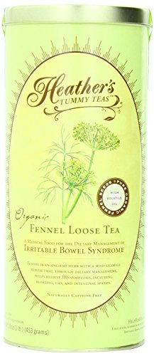 Heather's Tummy Teas Organic Fennel Tea for IBS, 16 Ounce Loose Tea Canister