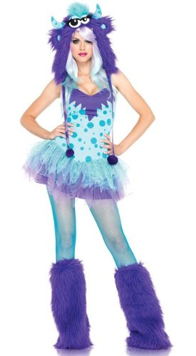 Leg Avenue Women's 2 Piece Polka Dotty Monster Costume, Aqua/Purple, X-Small