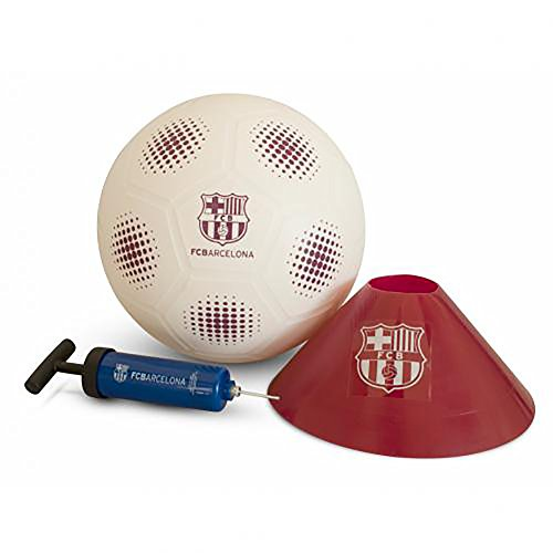 (FC BARCELONA MINI MATCH SET - GREAT FOR A BEGINNER TO LEARN BASIC BALL SKILLS - MORE SEASONED PLAYERS CAN PRACTICE THEIR SKILLS - CAN BE USED INSIDE OR OUT. FC BARCELONA TEAM CREST AND TEAM COLORS!)