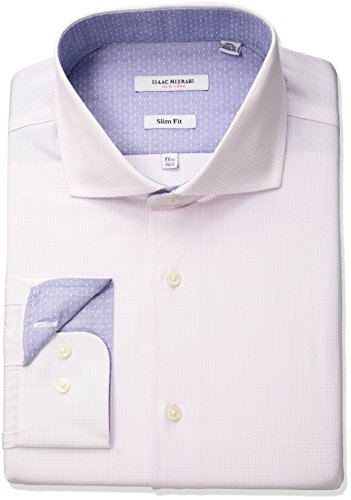 Mens Cutaway Collar Shirt - Isaac Mizrahi Men's Slim Fit Check Cut Away Collar Dress Shirt, Mini Check Pink, 15.5