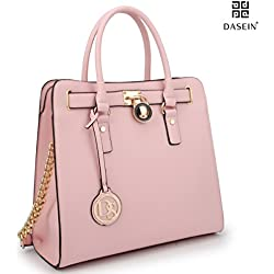 Dasein Large Saffiano Leather Tote Briefcase Satchel Shoulder Bag with Chain Shoulder Strap (2553-1 Pink)