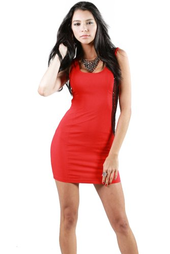 Afterpink Sexy Zebra Sequence Pointed Fashion Dress (M, RED/RED)