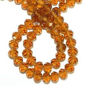 Steven_store CR419 Golden Topaz Brown 8mm Rondelle Faceted Cut Crystal Glass Beads 16