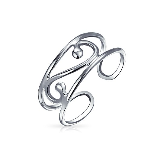(Craved Swirl Cut Out Filigree Midi Wide Band Toe Ring For Women For Teen 925 Silver Sterling Adjustable)