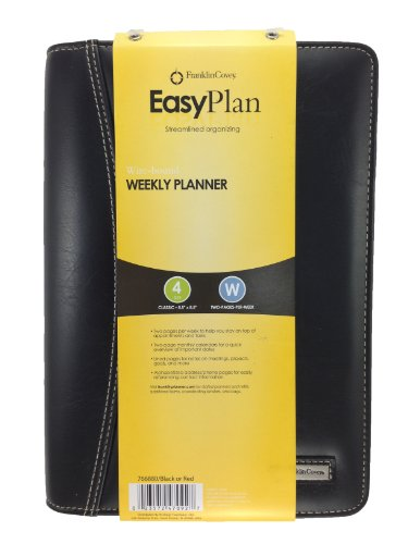(FranklinCovey EasyPlan Wire-bound Leather Weekly Planner Undated 5.5 x 8.5 Inches 766880 Black )