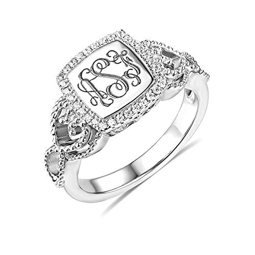 Getname Necklace Personalized Custom Engraved Classic Monogram Ring Sterling Silver 925 Wedding Band Ring Mother's Day Jewelry