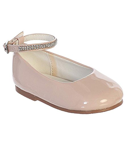 iGirldress Blush Baby Girls Toddler Patent Rhinestone Ankle Strap Flats Dress Shoes Size 4 Toddler -