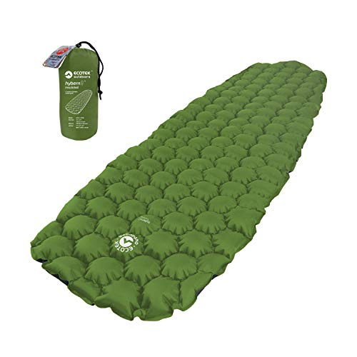 ECOTEK Outdoors Hybern8 Insulated 4 Season Ultralight Inflatable Sleeping Pad for Hiking Backpacking and Camping - Contoured FlexCell Design - Perfect for Sleeping Bags and Hammocks (Evergreen)