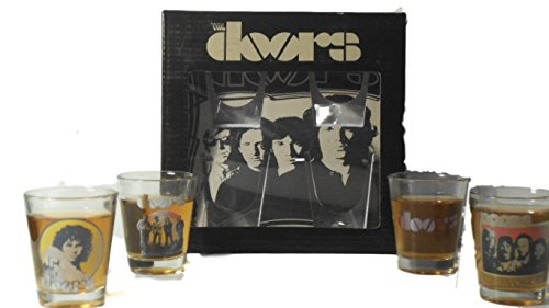 ROCK STARS - 4 PIECE 2 OZ SHOT GLASSES GIFT SET - CHOICE OF GUNS N ROSES, THE ROLLING STONES OR THE DOORS - COLLECTIBLE NOVELTY (THE DOORS)