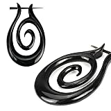 Pair of Organic Hand Carved Horn Tribal Stirrup Hanger Earring