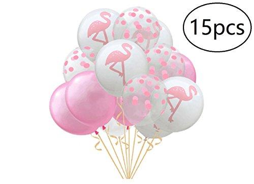 EBTOYS 15pcs Confetti Balloons Flamingo Latex Balloons for Hawaiian Luau Tropical Party Balloons Birthday Decorations (Pink) -