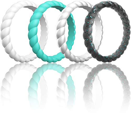 (ThunderFit Women Swivel Rings 4Pack and Singles Silicone Wedding Rings (Teal, Women Silver, White, Black Teal Glitter, 6.5-7 (17.3mm)))