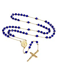FaithHeart Saint Benedict Rosary Necklace with Holy Soil Medal Cross Crucifix Pendant