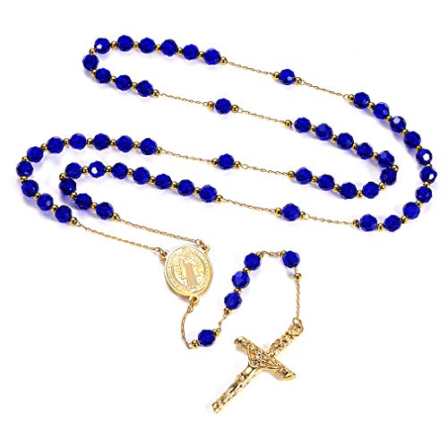 FaithHeart Saint Benedict Rosary Necklace, Holy Soil Medal Cross Crucifix Pendant, 6MM Beads, 26 Inches Chain, 6.3 Inches Pendant (Blue)