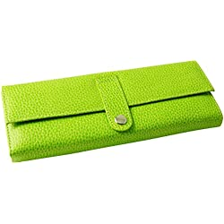 Budd Leather Pebble Grained Leather Jewel Roll, Lime