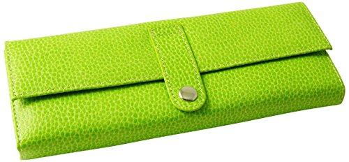 Budd Leather Pebble - Budd Leather Pebble Grained Leather Jewel Roll, Lime