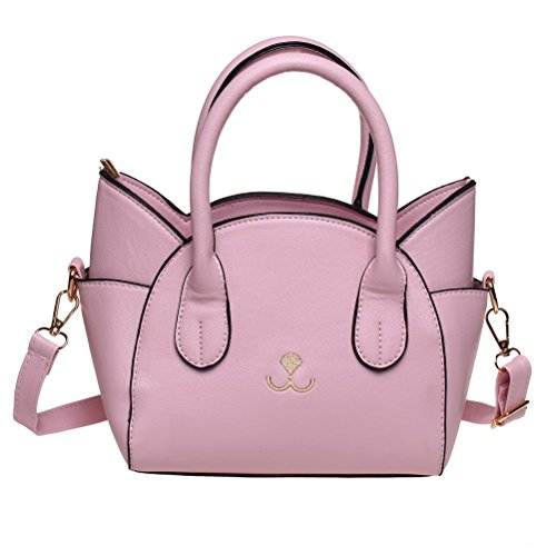 FASHIONROAD Handbag for Women, Cute Cat Top Handle Tote Bag, Girls Leather Satchel Cross Body Shoulder Bag with Strap Pink