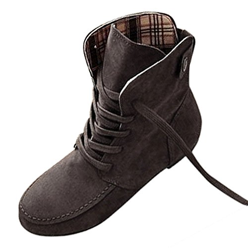 TOOGOO(R) Autumn Boots Snow Boots for Women Martin Boots Suede Leather Boots size6.5 Gray yqnbwQ