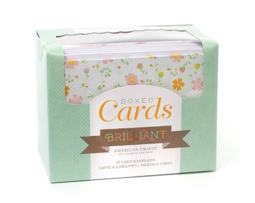 American Crafts 71696Boxed Cards and Envelopes – Brilliant by | Includes 40 Cards and envelopes. Various Designs.