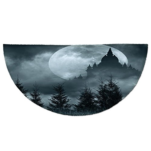 Half Round Door Mat Entrance Rug Floor Mats,Halloween,Magic Castle Silhouette over Full Moon Night Fantasy Landscape Scary Forest,Grey Pale Grey,Garage Entry Carpet Decor for House Patio Grass Water ()