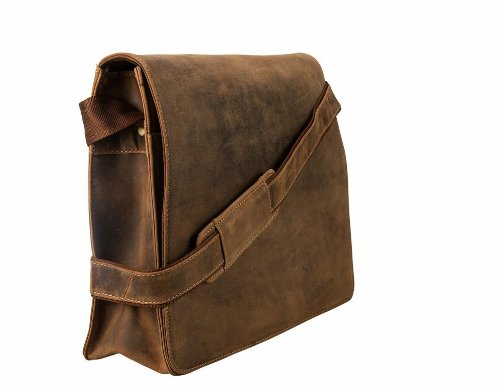 Visconti Visconti Leather Distressed Messenger Bag Harvard Collection, Tan, One Size by Visconti (Image #3)