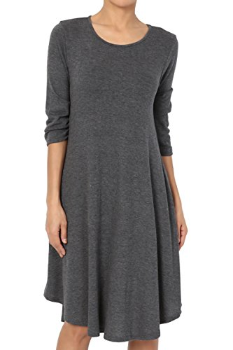 TheMogan Women's 3/4 Sleeve Soft Hacci Knit Fit & Flare A-Line Dress Charcoal L