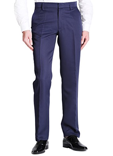 Vero Viva Men's Straight Leg Fit Flat Front Dress Pants Business Casual Trousers(31W30L,Navy)