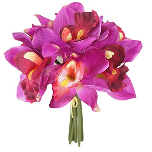 Lily Garden Mini 7 Stems Cymbidium Orchid Bundle Artificial Flowers (Magenta) (Magenta Flowers)