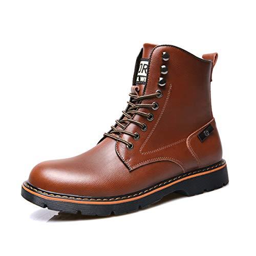 (GanQuan2018 Men's Work Boots Waterproof Lace Up Winter Black Brown Combat Boot)