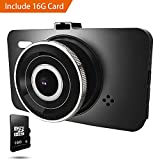Dash Cam 1080P Car DVR Dashboard Camera Full HD with 3' LCD Screen 170°Wide Angle, WDR, G-Sensor, Loop Recording and Motion Detection