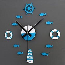 FZZ698 3D Wall Clock, Home Wall Stickers, Home & Kitchen, Digital Wall Wall Sticker Modern DIY Wall Clock Wall Sticker Decoration Art Clock Home Office Decor (B)