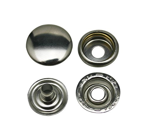 Chuzhao Wu 0.6'' Diameter Silvery Fasteners Leather Clothes accessories Line Brass Snaps (20 sets) ()