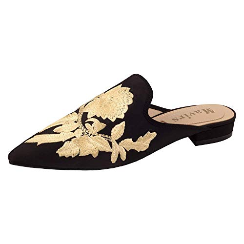 MAVIRS Mules for Women, Women Embroidery Satin Mule Slippers, Woman Slip on Backless Slides Loafers Black Satin Golden Flowers Size - Satin Mules
