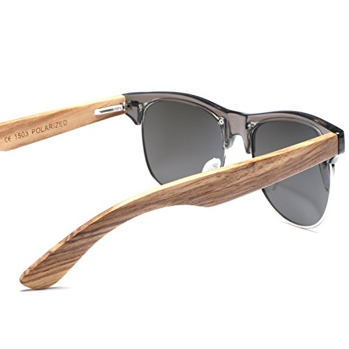 Ablibi Bamboo Wood Semi Rimless Sunglasses with Polarized Lenses in Original Boxes (Zebra Wood, Silver) by ABLIBI (Image #4)