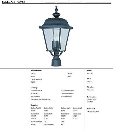 Maxim 3008BK Builder Cast Aluminum Outdoor Post Lighting 9 by 24 Inch – Outdoor Light Fixtures for Lobby, Courtyard, Balcony, Dockyard. Lighting Accessory by Maxim Lighting (Image #1)