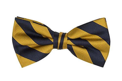 (Jacob Alexander Stripe Woven Men's College Striped Pretied Bowtie - Gold Navy)
