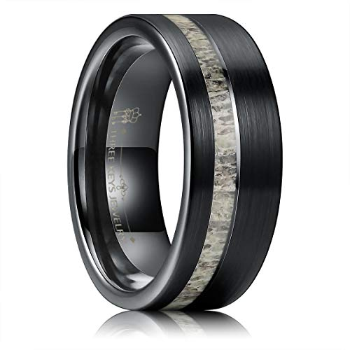THREE KEYS JEWELRY 8mm Men's Tungsten Rings with Deer Antler Inlay Black Carbide Brushed Wedding Bands for Men Women Comfort Fit Size 9