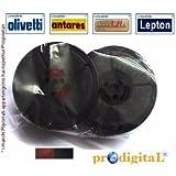 ProDigital Office Ruban pour machine à écrire en tissu à double bobine Compatible Olivetti, Valentine, Hantares, Hermes, Irish, Lepton Rouge/noir