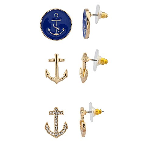 [Lux Accessories Anchors Multi Earring Set (3PC)] (Ladies Ring Leader Costume)