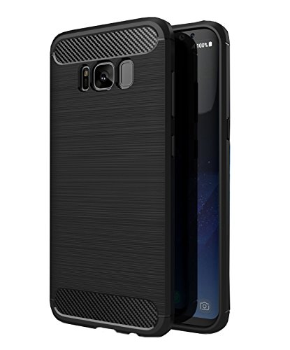 Price comparison product image Galaxy S8 Plus Case,UCLL [Drop Protection] Shockproof Carbon Fiber Silicone Soft Cover for Samsung Galaxy S8 Plus (Black)