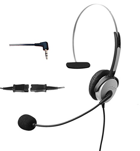 4Call K500QJ25 2.5 Corded Headset with Noise Canceling Mic for Polycom Cisco Linksys SPA Grandstream Panasonic Gigaset & Zultys Office IP Telephone & Cordless Dect Phones with 2.5mm Headphone Jack
