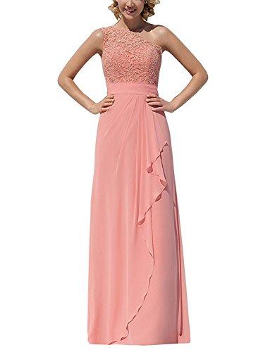 ThaliaDress Chiffon Lace Long One Shoulder Bridesmaid Dress Evening Formal Gown T096LF Peach (Peach Bridesmaids Formal Gown)