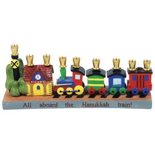 1 X Hand painted Railroad Trains Children's Menorah Chanukiah by Jessica (Children Menorah)