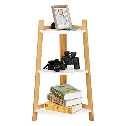 LANGRIA 3-Tier Corner Shelf Book Shelf Bathroom Shelving Mutipurpose Freestanding Storage bookcase Modular Shelving, Max Load 44 lbs. Home Office Use, Natural Bamboo & White Colors