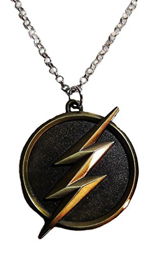 Antique Finish Pendant - Marvel Comics THE FLASH Lightening Bolt Logo Antique Brass Finish PENDANT